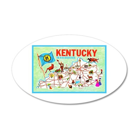 Kentucky Map Greetings 35x21 Oval Wall Decal