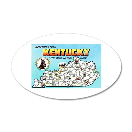 Kentucky Map Greetings 20x12 Oval Wall Decal