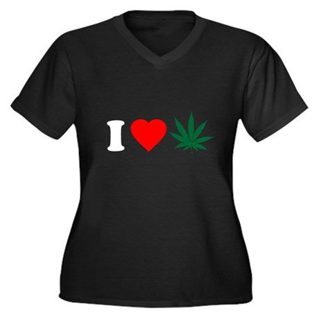 I Love Weed Plus Size V-Neck Shirt