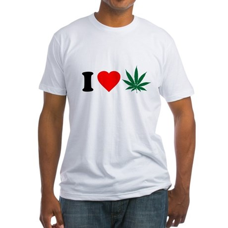 I Love Weed Fitted T-Shirt