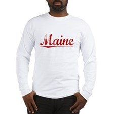 Maine, Vintage Red Long Sleeve T-Shirt