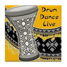 Drum Dance Live Yellow Tile Coaster