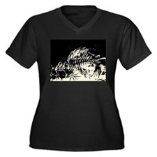 Dem Bones Women's Plus Size V-Neck Dark T-Shirt