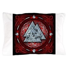 Norse Valknut Tapestry - Red Pillow Case