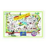 Pennsylvania Map Greetings Postcards (Package of 8