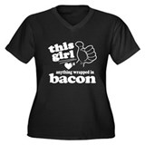 Girl Hearts Bacon Women's Plus Size V-Neck Dark T-