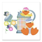 baby ducks and watering can.png Square Car Magnet