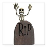 tombstone and skeleton design.png Square Car Magne