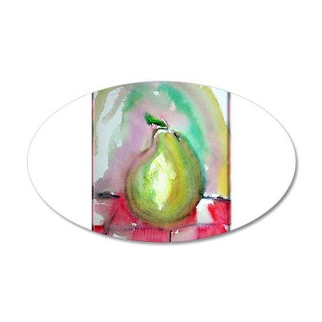 Pear! colorful fruit art! 20x12 Oval Wall Decal