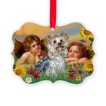 Angels with Yorkie Picture Ornament