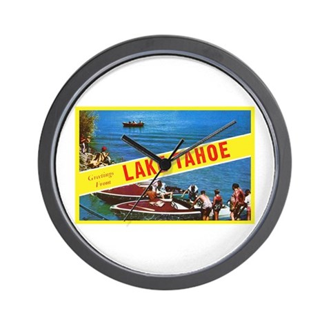 Lake Tahoe Greetings Wall Clock
