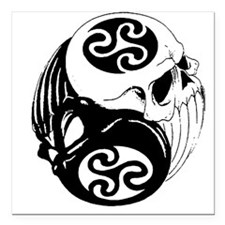 "Tribal Skulls Yin Yang Square Car Magnet 3"" x 3"""