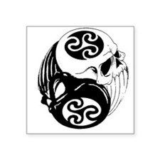 "Tribal Skulls Yin Yang Square Sticker 3"" x 3"""