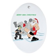 MMA Santa Vs Snowmonster Ornament (Oval)
