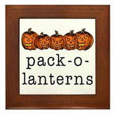 Pack-O-Lanterns Halloween Framed Tile
