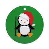 Clarinet Santa Penguin Christmas Ornament (Round)