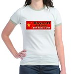 Boycott Red China Buy Made in Jr. Ringer T-Shirt