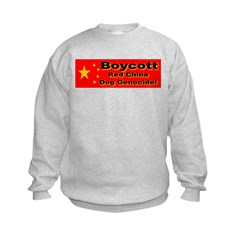 Boycott Red China Dog Genocid Kids Sweatshirt