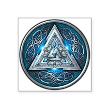 """Norse Valknut - Blue Square Sticker 3"""" x 3"""""""