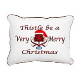 Red tartan thistle christmas Canvas Pillow
