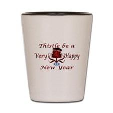 Red tartan thistle new year Shot Glass