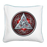 Norse Valknut - Red Square Canvas Pillow