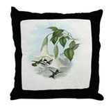 Vintage Datura Humming Bird Print Throw Pillow
