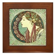 Laurel by Alphonse Mucha Framed Tile