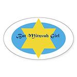 Bat Mitzvah Girl Oval Sticker