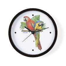 Tropical Macaws Wall Clock