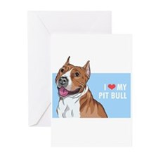 I Love My Pit Bull Greeting Cards (Pk of 20)