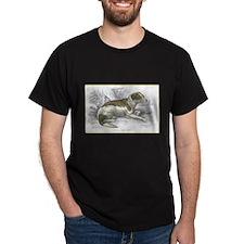 Boar Hound Dog (Front) Black T-Shirt