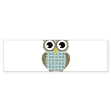 Blue Mod Print Owl Bumper Sticker