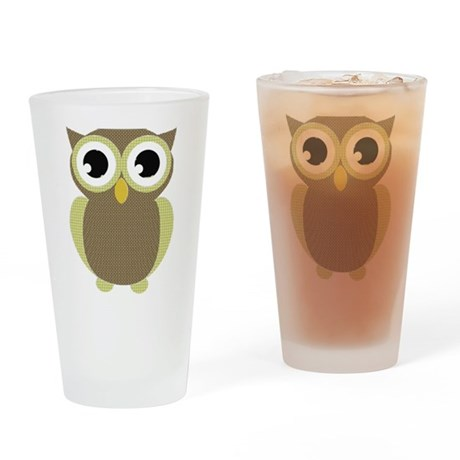 Green Brown Mod Owl Drinking Glass