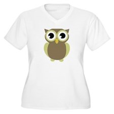 Green Brown Mod Owl T-Shirt