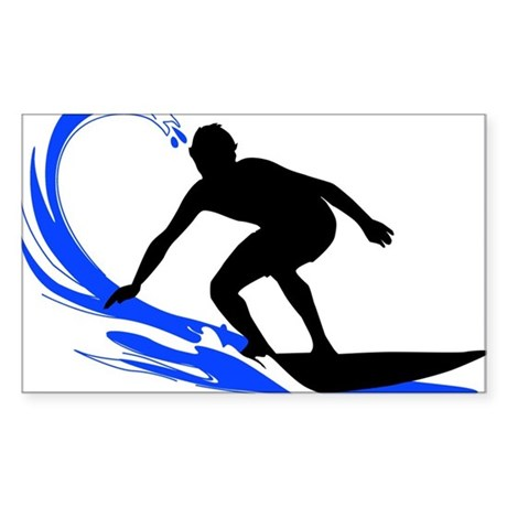 Wave Surfing Oval Sticker