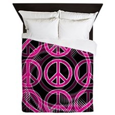 Pink Peace Signs Queen Duvet