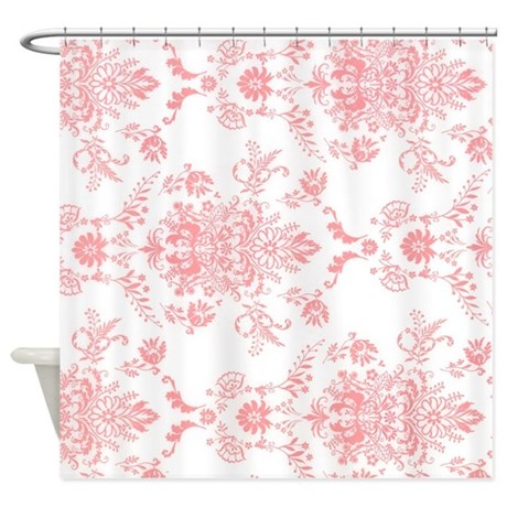 pink damask shower curtain by theshowercurtain