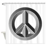 Silver Peace Sign Shower Curtain
