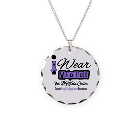 I Wear Violet Twin Sister Necklace Circle Charm
