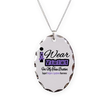 I Wear Violet Twin Brother Necklace Oval Charm