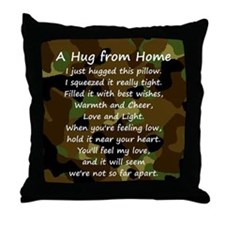 Hugs from Home (camo) Throw Pillow