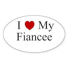 I (heart) My Fiancee Oval Decal