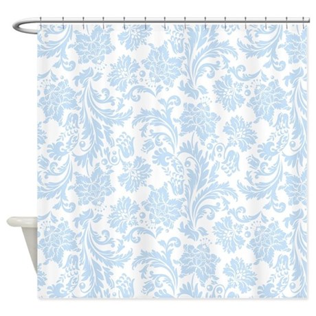 Sky Blue And White Damask Shower Curtain By Artonwear