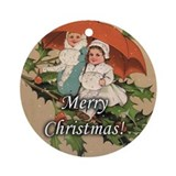 Holly Winter Girls Merry Christmas Ornament