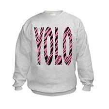 YOLO pink zebra stripes Sweatshirt