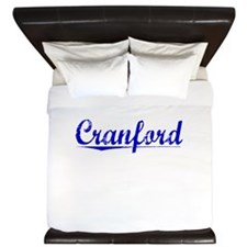 Cranford, Blue, Aged King Duvet