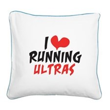 I heart Running Ultras Square Canvas Pillow