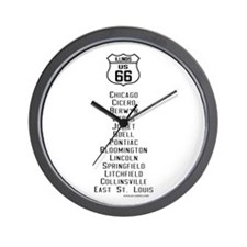 US Route 66 - Illinois - old cities.png Wall Clock