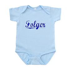 Folger, Blue, Aged Infant Bodysuit